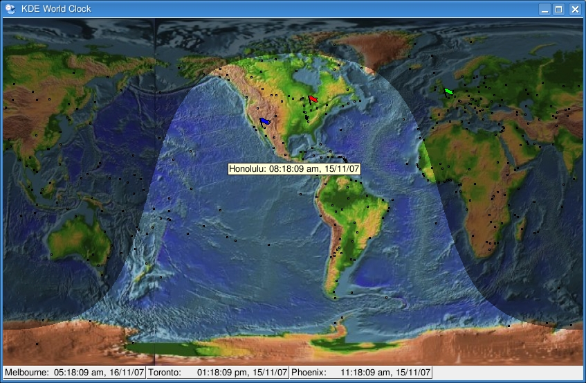 Cooking with linux its a virtual world linux journal figure 5 kworldclock shows the passing of time in a satellites view gumiabroncs Gallery