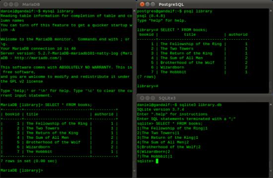 mariadb/mysql, postgresql and sqlite3 - comparing command-line