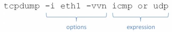tcpdump -i eth1 -vvn icmp or udp (where