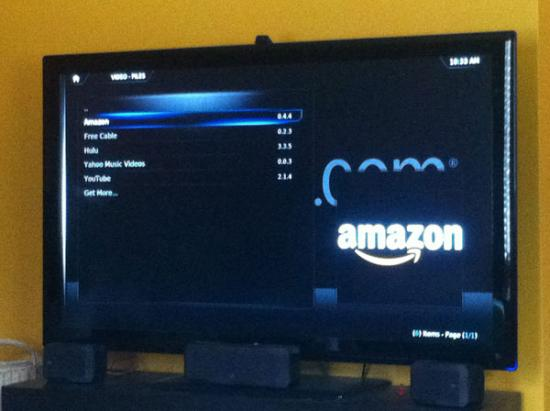 TV Screen showing Amazon prime on xbmc