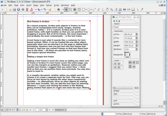 A Scribus Text Frame and Its Properties Dialog