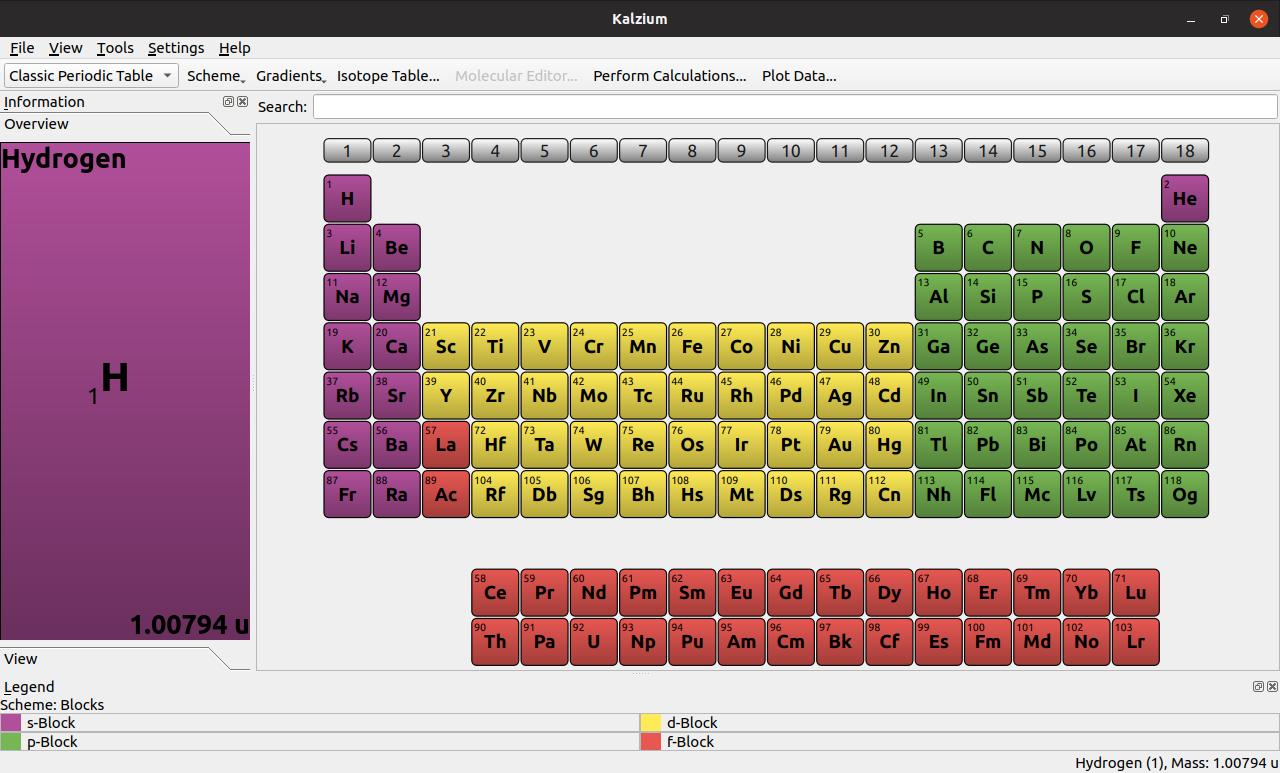 KDE's Kalzium