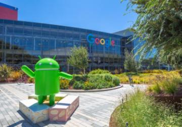 Google headquarters with Android statue