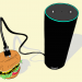 Drawing of an Alexa plugged in to a hamburger