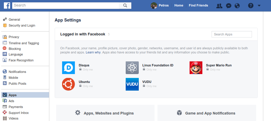 Screenshot of the Facebook Application Settings Page