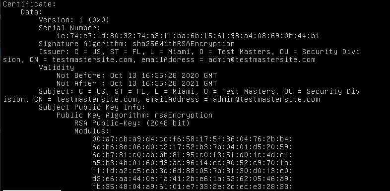Example output of openssl req -text -noout -verify -in testmastersite.csr