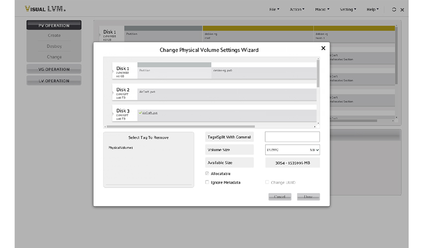 The UI of change configuration of Physical Volume