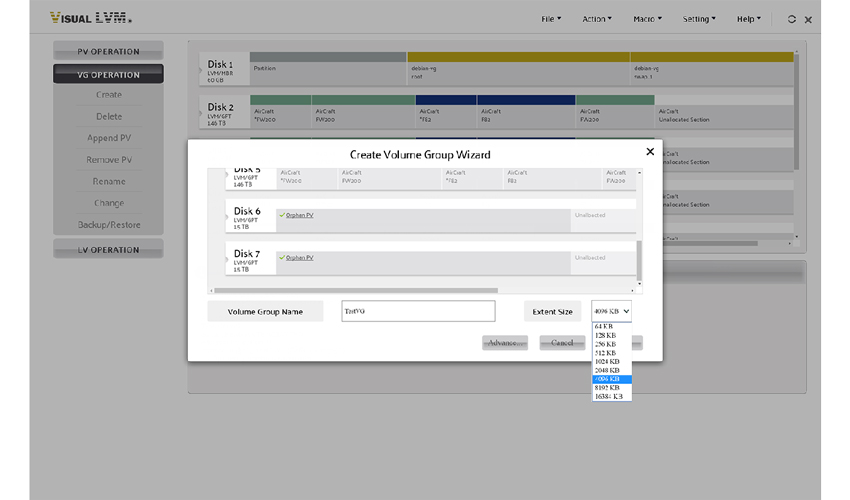 UI of create Volume Group operation